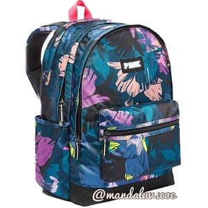 💕VS PINK TROPICAL PURPLE BLUE CAMPUS BACKPACK